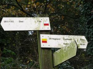 Op de Kloosterberg verlaten we de GR 5 en vervolgen onze weg op de SGR-Hageland